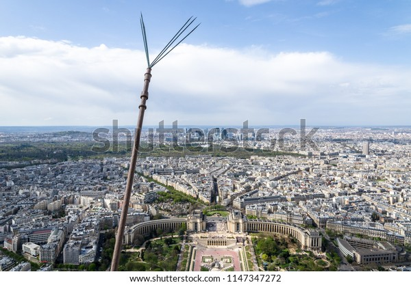 Panoramic view of the city of Paris including the trocadero and the distant La Défense financial district. Photo taken from the Eiffel Tower, France.
