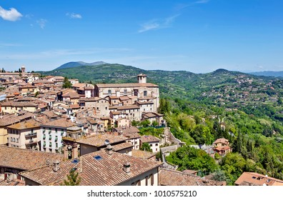Panoramic view of the city and the picturesque surroundings. Perugia, Italy.