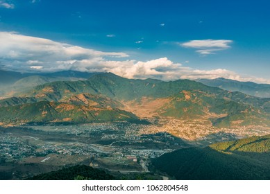 Panoramic view of the city of Pokhara from a height. Nepal 2017