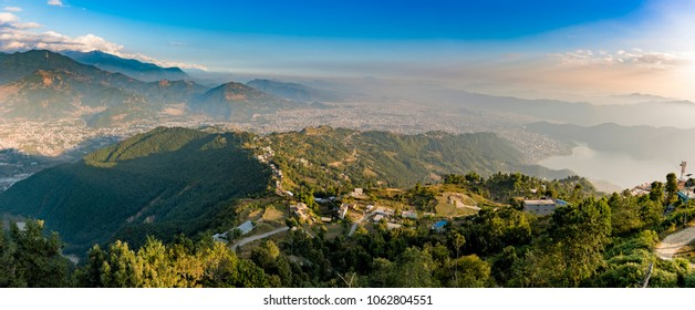 Panoramic view of the city of Pokhara and Phewa Lake from a height. Nepal 2017