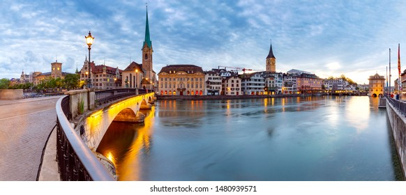 Panoramic view of the city promenade and the facades of medieval houses at dawn. Zurich. Switzerland.