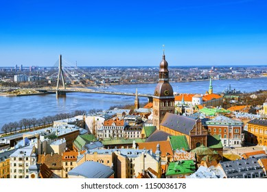 Panoramic view of the city of Riga, Latvia from the height of the tower Church of St. Peter (St. Peter's Church, Petrikirche)