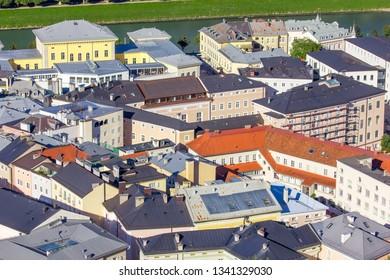 Panoramic view of the city of Salzburg, Austria