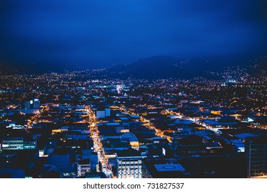 panoramic view of the city of san jose, costa rica in the blue hour