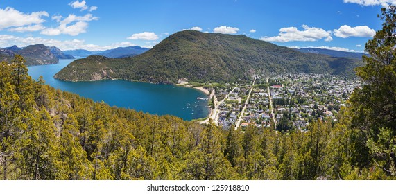Panoramic view of the city of San Martin de los Andes, in the province of NeuquÃ?n, Patagonia, Argentina