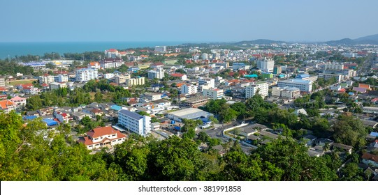 Panoramic View of the city of Songkhla, Thailand, from Tang Kuan Hill