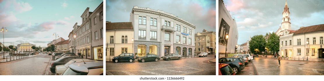Panoramic view of city square at sunset, Vilnius