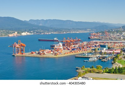 Panoramic view city of Vancouver with the container port terminal.
