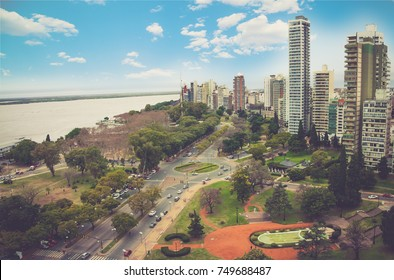panoramic view cityscape of the city of Rosario, Argentina. It is the largest city in the province of Santa Fe, in central Argentina. Blue sky with clouds