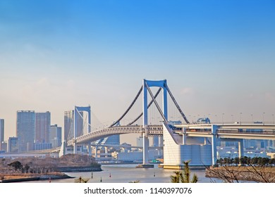 Panoramic view of cityscape and Rainbow Bridge in Odaiba,This is a famous place in Tokyo,Japan