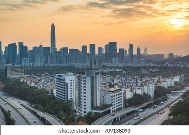 panoramic view of cityscape,midtown skyline at sunset ,shot in Shenzhen,China .
