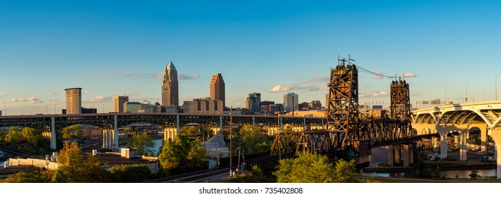 Panoramic view of Cleveland Ohio with bridges spanning the Cuyahoga, just before sunset