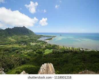 Panoramic view from a cliff above Kaneohe bay, kualoa ranch mountain, molii pond, secret island beach, mokolii island Oahu Hawaii