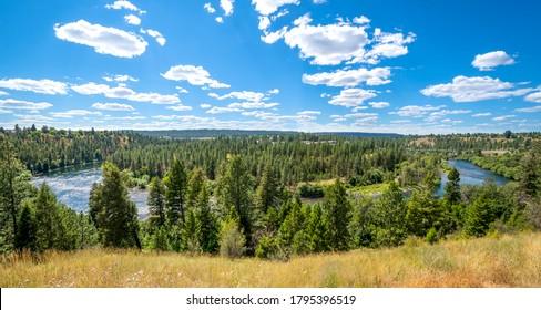 Panoramic view from a cliff of the Spokane River near the Downriver and Audubon neighborhoods near Riverside State Park in Spokane, Washington, USA