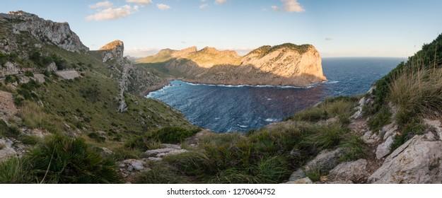 Panoramic view of cliffs at Formentor peninsula, Balearic Islands, Mallorca, Spain