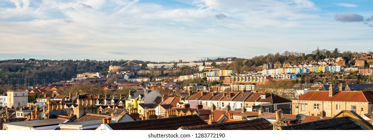 Panoramic view of Clifton and Hotwells areas of Bristol, England, United Kingdom