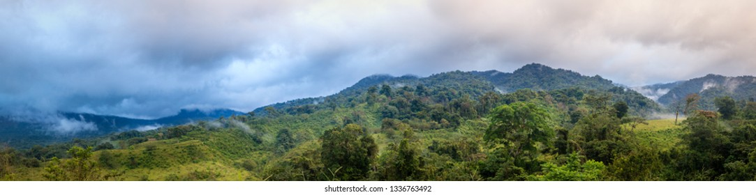 Panoramic view of cloud forest in central Costa Rica