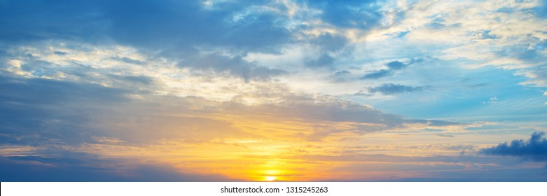 Panoramic view of a cloudy sky at sunset
