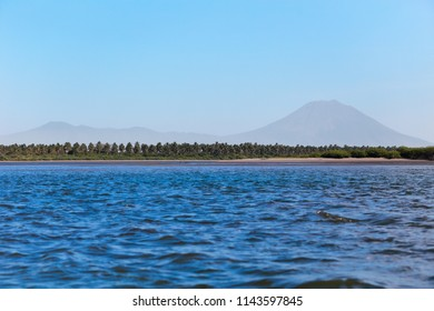 A panoramic view of the coast from the Jiquilisco bay in El Salvador, Central America.