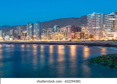 Panoramic view of the coastline of Antofagasta, know as the Pearl of the North and the biggest city in the Mining Region of northern Chile