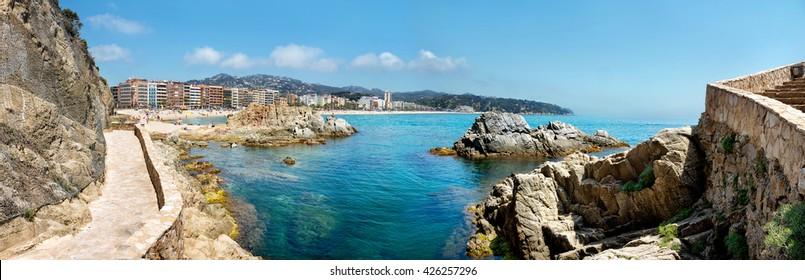 Panoramic view of coastline at Lloret de Mar. Costa Brava, Catalonia, Spain