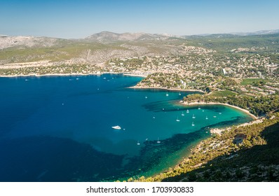 Panoramic view of the coastline near Cassis seen from the Route des Cretes (Provence, France)