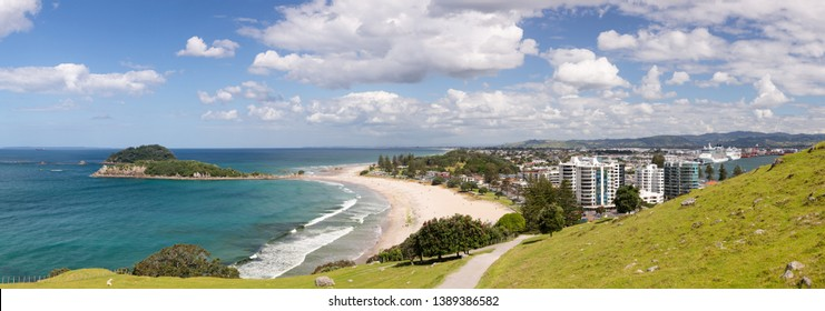 Panoramic view of the coastline and town of Tauranga from the Mount in New Zealand