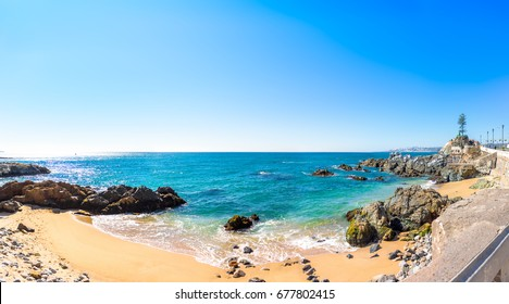 Panoramic view of the coastline in Vina del Mar, Chile