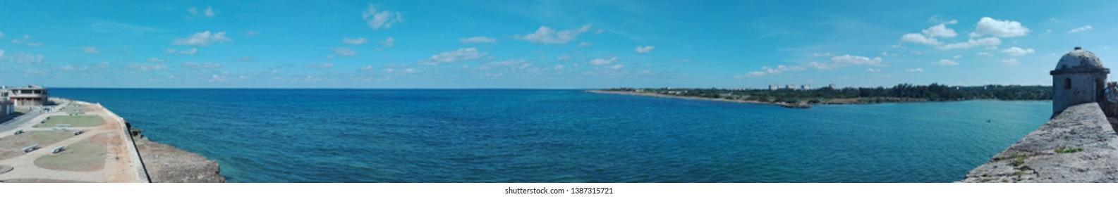 Panoramic view of Cojimar bay, La Habana, Cuba.  Sea landscape. Sea panoramic wallpaper