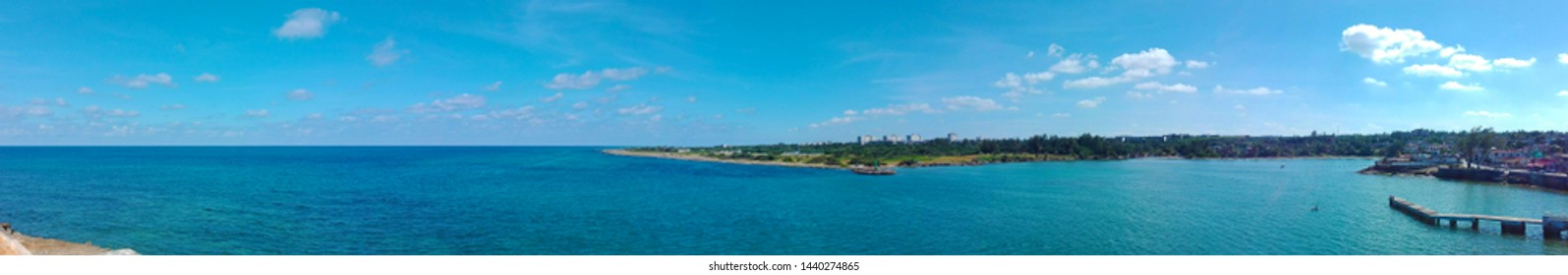 Panoramic view of Cojimar Bay. Sea landscape with blue sky.