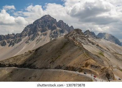 Panoramic view of the Col du Galibier mountain pass. Col du Galibier is at the border between Savoie and Hautes Alpes departments, France, at 2642 m altitude.