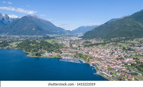 Panoramic view of Colico, lake of Como