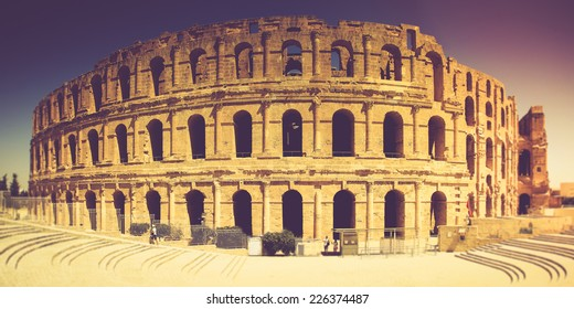 Panoramic view of Coliseum in El Djem, Tunisia in Africa. Filtered image:cross processed vintage effect.