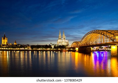 Panoramic view of Cologne with Cologne Cathedral and Hohenzollernbrücke