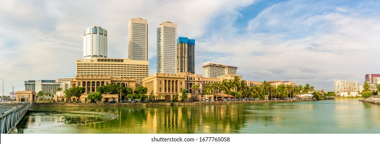 Panoramic view at Colombo Skyline with Lake Beira in Sri Lanka
