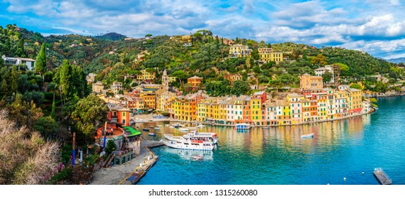 Panoramic view of the colorful coastal italian village Portofino in the province of Liguria, Italy