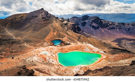 Panoramic view of colorful Emerald lakes and volcanic landscape, Tongariro national park, New Zealand