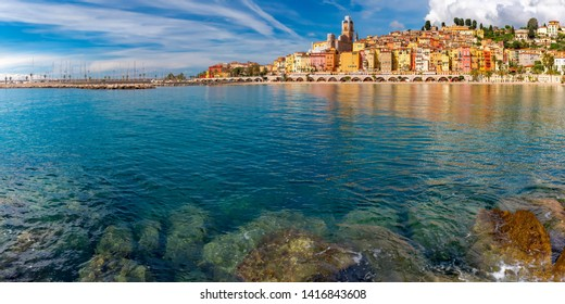 Panoramic view of colorful old town and beach in sunny Menton, perle de la France, on French Riviera, France