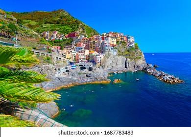 Panoramic view of colorful Village Manarola in Cinque Terre, Liguria, Italy