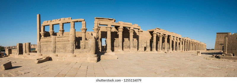 Panoramic view of columns in entrance courtyard at ancient egyptian Temple of Isis Philae Island Aswan