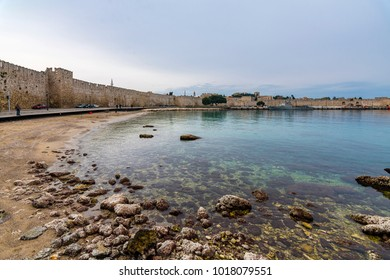 Panoramic view of Commercial Harbour in Rhodes Island