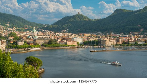 Panoramic view of Como city, overlooking the Lake Como, on a sunny summer afternoon. Italy.