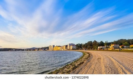 Panoramic view of Compostela beach and Carril village seafront in Vilagarcia de Arousa town