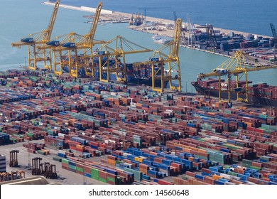 Panoramic view of containers in a harbour of Barcelona <this version does NOT contain logos>