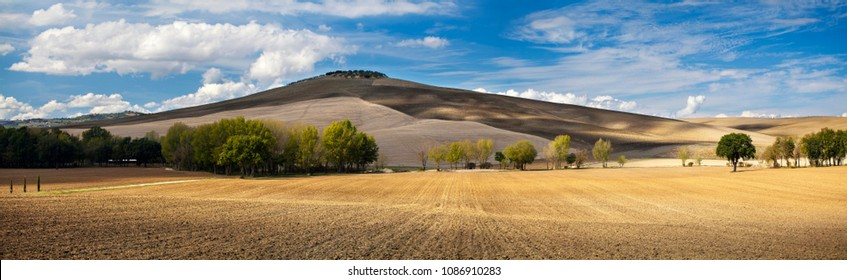 Panoramic view of contryside lanscape with rolling hills - spring or autumn background