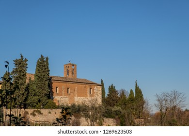 Panoramic view of the convent of San Francesco, the medieval village of Colle di Val d'Elsa, Siena, Tuscany