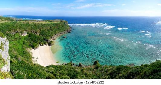 Panoramic View of coral reef (Kafu-Banta in Miyagi-Island, Okinawa, Japan)
