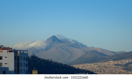 Panoramic view of the Corazon volcano with blue sky in the background on a sunny morning