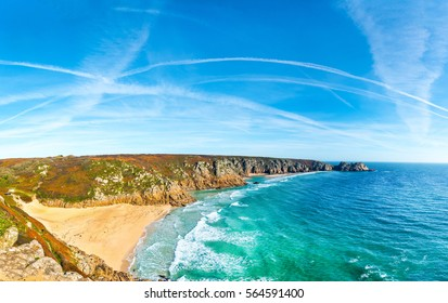 Panoramic view of the Cornish Coast from Porthcurno to Pedn Vounder and the Logan Rock. The white Cable Hut can be seen at the top of Porthcurno Beach.
