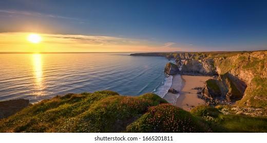Panoramic view of Cornwall's coastline
